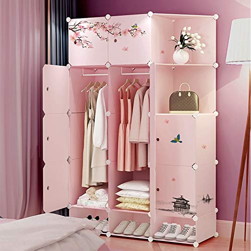 Review Of Zxcvlina-JJ Portable Wardrobe Combination Armoire Vintage Peach Blossom Designed Modular C...