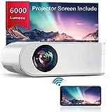 Proyector WiFi, YABER Mini Proyector Portátil 6000 Lúmenes 1080P Full HD[Pantalla de Proyector Incluida], Cine en Casa...
