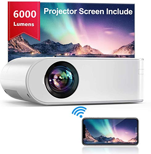 "Proyector WiFi, YABER Mini Proyector Portátil 6000 Lúmenes 1080P Full HD[Pantalla de Proyector Incluida], Cine en Casa 200\"" Duplicar Pantalla para Android/iPhone Smartphone iPad,HDMI/USB/VGA/AV"
