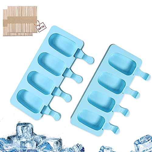 Molde Helado Silicona, 2 PCS Moldes Paletas Helado, Helado Antiadherente Moldes, Reutilizable Moldes Congelador, Grado Alimenticio, sin BPA, para Niños, Adultos, con 100 Palos de Madera (Cielo Azul)