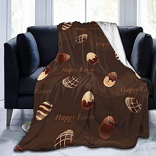 Happy Easter - Manta de forro polar para huevos de chocolate (microfibra, ultra suave, ligera, de lujo, para sofá, dormitorio, oficina, viajes, todas las estaciones, color negro - 50 x 40 pulgadas