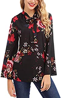 SODIAL Autumn Women's Long Sleeve Floral Print Tie Chiffon Pullover T Shirts For Ladies Casual Plus Size Tops Blouses Shirts Femme White M