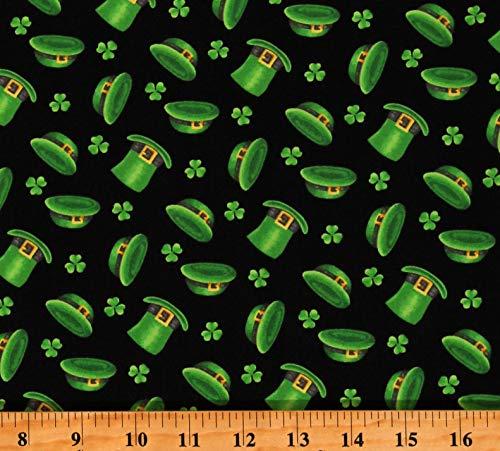 Cotton St Patrick's Day Leprechaun Hats Green Shamrocks on Black Cotton Fabric Print by The Yard (D568.84)