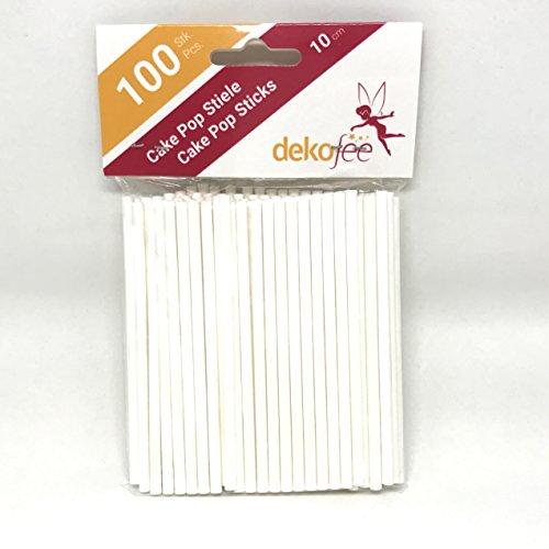 dekofee 100 Cake Stiele-10cm-Cake Pop Lollipop Sticks-Papier Stiele, Stoff, Weiß, 10cm