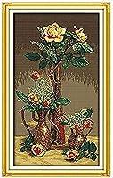 フルレンジの刺繡スターターキット11CTスタンプクロスステッチキットゴールデンローズアダルトプレプリント刺繡ニードルポイントギフト初心者DIY手作り家の装飾16x20インチ