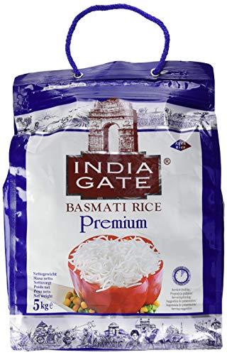 INDIA GATE Premium Basmati Rice (aus Indien, feines Langkorn) aromatisch, Vorratspackung - 1er Pack (1 x 5 kg)