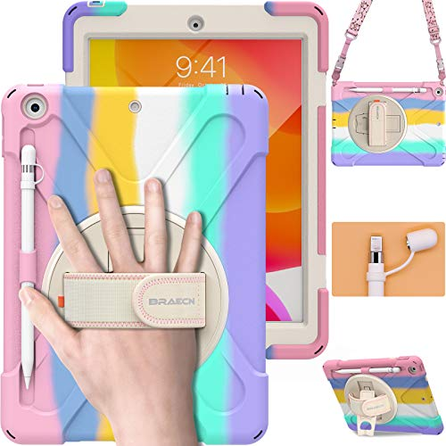 BRAECN iPad Case 8th/7th Generation 10.2 Inch 2020/2019, Heavy Duty Kids Case with Pencil Holde /Screen Protector/Pencil Cap/360 Degree Rotating Bracket for iPad 7th Gen 10.2 2019 Case -Rainbow…