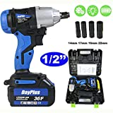 18V Impact Gun Cordless Impact Wrench Variable Speed Impact Driver w/6000mAh Rechargeable Battery