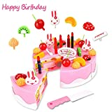 Lychee Kitchen Fun Cutting Birthday Cake Play Set DIY Birthday Cake Pretend Play Food Toy Set with Candles...