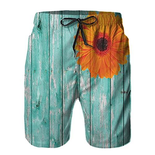Bañador De para Hombre Pantalones Playa Shorts, Tablero de Madera de la casa de Campo con Flores Dahlia Buds Vibrant Summer Theme Art Secado Rápido Ligero Baño Cortos S
