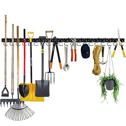 Garage Hooks Tool Organizer Wall Mount, 64 Inch Adjustable Storage System, Garden Tool Organizer for Garage Wall Organizer, Heavy Duty Tool Hangers for Garage Wall to Storage Rake, Broom and Yard Tool
