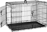 AmazonBasics Double-Door Folding Metal Dog Crate, Black, 36-inch