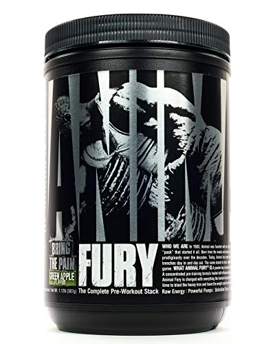 Animal Fury - Pre Workout Powder Supplement for Energy and Focus - 5g BCAA, 350mg Caffeine, Nitric Oxide, Without Creatine - Powerful Stimulant for Bodybuilders - Green Apple - 30 Servings