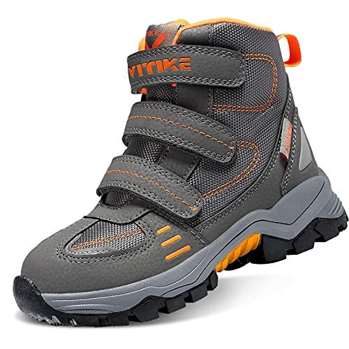 VITIKE Chaussures en Coton pour Enfants Bottes de Neige d'hiver Chaussures de randonnée Garçon Walking Trekking léger Outdoor Sporty Shoes Bottes d'escalade, 65-gris Orange, 39 EU