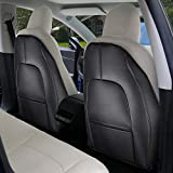 Tesla Model 3 Model Y Leather Seat Back Kick Protectors Kick Mats Black Set of 2