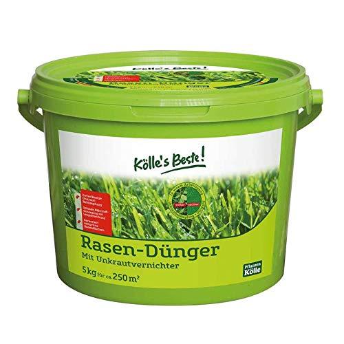 Kölle\'s Beste! Rasendünger mit Unkrautvernichter, für einen grünen und dichten Rasen, praktisches Granulat, für alle Rasensorten geeignet, zur Düngung vom Frühjahr bis Herbst, 2,5 kg 5 kg