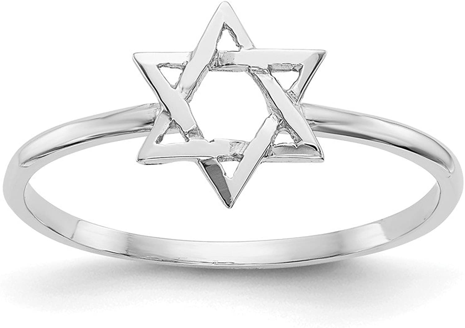 Beautiful White gold 14K 14k White gold Polished Star of David Ring