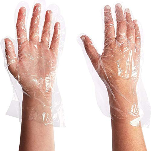 Synoratory Plastic Gloves for Gardening, Hair Coloring, Handing Food, One Size Fits Most, Clear (100 PCS)