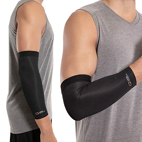 Copper Compression Recovery Elbow Sleeve - Guaranteed Highest Copper Content Elbow Brace for Tendonitis, Golfers or Tennis Elbow, Arthritis. Elbow Support Arm Sleeves Fit for Men and Women (Medium)