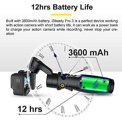 iSteady Pro 2-Axis Handheld Gimbal Stabilisator,Handheld Gimbal for Camera Gopro Hero 7/6/5/4/3+/3, Yi Cam 4K, AEE, SJCAM,Sony RX,Action-Kamera, 12 Stunden-Laufzeit, Spritz wassergeschützt