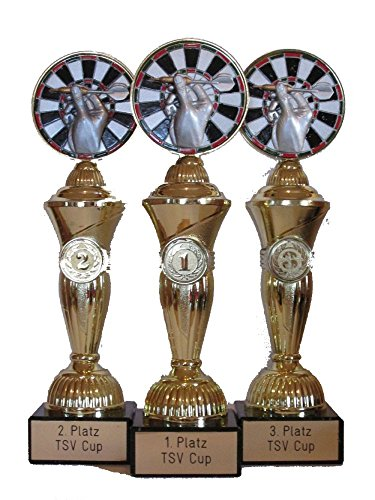 RaRu Dart-Pokale (3er-Serie) mit Wunschgravur und 3 Anstecknadeln (Sticker)