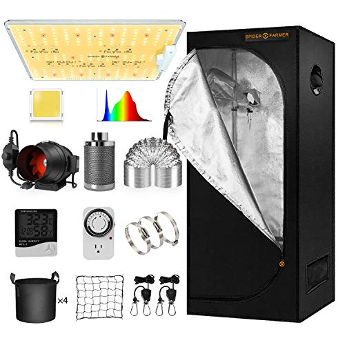 """Spider Farmer 2x2 Grow Tent Kit Complete SF-1000D Full Spectrum LED Grow Light Samsung Diodes 24"""" X 24"""" X 55"""" Growing Tent 4 Inch Inline Fan Filter Combo Setup System for Indoor Plants Veg Flower"""