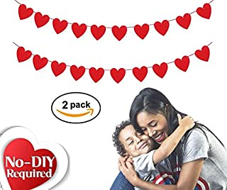 Valentine's Day Decorations, Felt Heart Banner 2 Pack, No DIY, 2.5m   Red Garland for Mantle and Wall   Love Hanging Decor For Bridal Shower, Classroom, Office, Wedding Anniversary, Engagement Party, Gifts for Him & Her