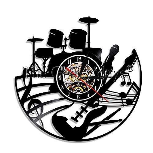 GZWSM Gitarre Und Schlagzeug Schallplatte Wanduhr Rock N Roll Wanduhr Instrument Uhr Schlagzeuger Gitarrist Musikliebhaber Geschenk-No_Led 30 cm