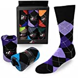 Debra Weitzner Mens Dress Socks Cotton Colorful Argyle Socks Patterned 6 Pairs With Gift Box Bright Argyle Size 13-15