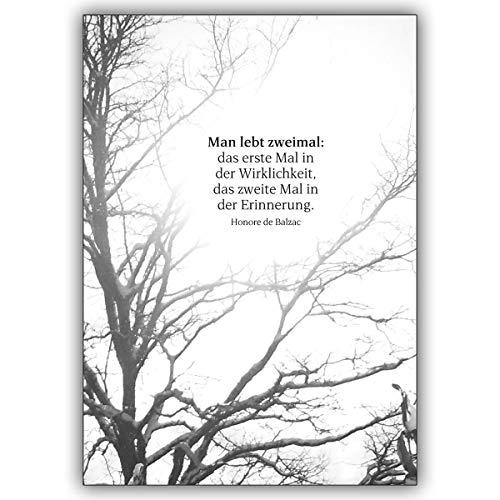 4 Trauerkarten (4er Set): Gedankenvolle Trauerkarte mit Balzac Zitat als Beileids Spruch | tröstende Danksagung Premium-Trauerkarten-Set mit Umschlägen
