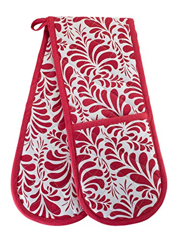 KreativeKitchenry Double Oven Mitts Gloves | Extra Long & Thick, Heat Resistant | Quilted Oven Gloves | 100% Cotton | Ideal for Oven Needs | Pretty Red Pattern