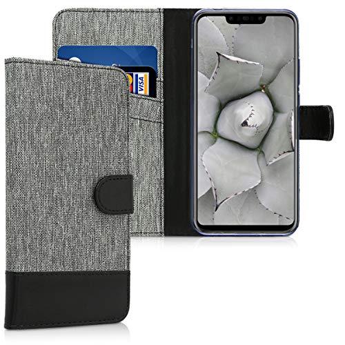 Huawei Nova 3 Hülle - Kunstleder Wallet Case für Huawei Nova 3 mit Kartenfächern und Stand - Grau Schwarz