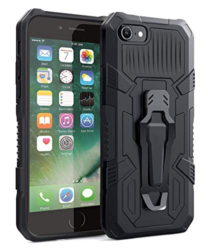 iPhone SE 2020 case,iPhone 7/8 Case with Kickstand Holder&Belt Clip, iPhone 7/8 Slim Fit Cases [Heavy Duty] iPhone 7/8 Protective Shockproof Resistant Rugged Drop for iPhone 7/8 4.7inch -Black