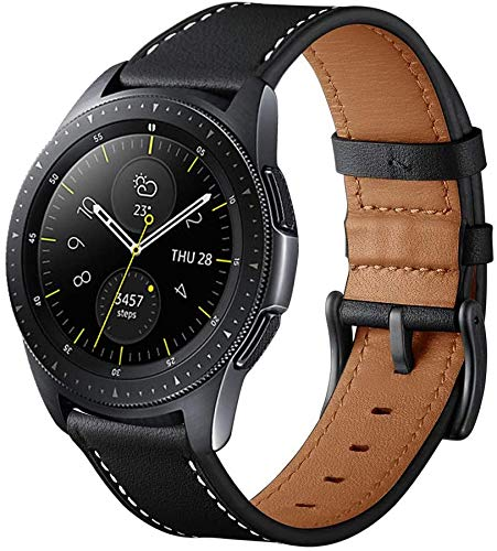 Aimtel Armband Kompatibel mit Galaxy Watch 42mm Armband/Garmin Vivoactive 3 Armband, 20mm Lederarmband für Galaxy Watch 42mm / Garmin Vivoactive 3 / Galaxy Watch Active 2 (Schwarz)