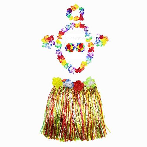 Ecloud Shop® Halloween Masquerade Hawaiian Hula Grass Skirt Dance Wears Clothing Set