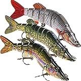 Lixada Fishing Bass Lures 5-12' Multi Jointed Topwater Life-Like Trout Swimbait Hard CrankBaits Hard Bait Fish Treble Hook