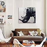 Lienzo Pintura Dibujado a Mano Rinoceronte Negro Moderno Pintura al óleo Hogar Pared Decoración Animales Decor Pintura Fácil de Colgar,Withframe,50x50cm