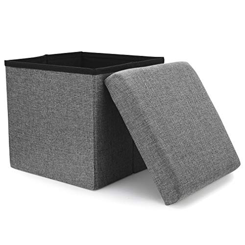 WoneNice Folding Storage Ottoman Versatile SpaceSaving Storage Toy Box with Memory Foam Seat Max Load 100 kg Linen Gray 12 x 12 x 12 Inch