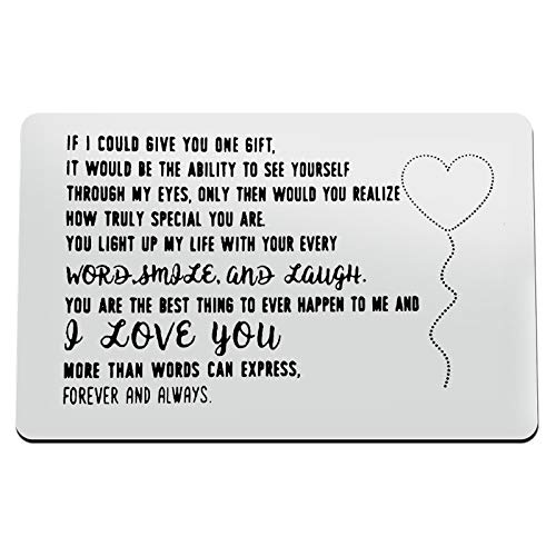 Engraved Wallet Inserts Card for Boyfriend Girlfriend Metal Wallet Insert Card Anniversary Card Gift Couple Giftfor Wife Husband Deployment Jewelry Couple Gift Birthday Wedding gift for Women Men