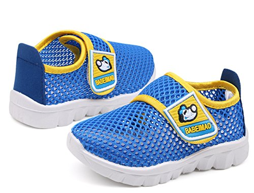 DADAWEN Baby's Boy's Girl's Water Shoes Breathable Mesh Running Sneakers Sandals for Beach Swimming Pool Blue US Size 9 M Toddler