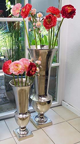 Michael Noll Vase Blumenvase Gefäß Pokalvase Dekovase Aluminium Silber Aluminium 52 cm / 80 cm (20x20x52 cm)