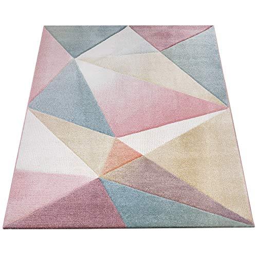 Amazon Brand - Umi Alfombra Salon Comedor Pasillo Pelo Corto Moderna Diseño De Geometrica Triangulos Rombos Abstracto Color Pastel, Color:Multicolor, Tamaño:60x100 cm