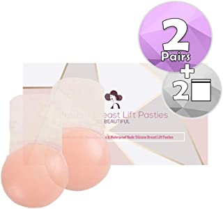 Celebrit Nipple Cover Breast Lift Bra Pasties with 2 Pairs of 10cm Diameter Hypoallergenic Waterproof and Reusable