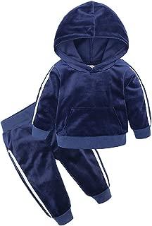 Boys Girls Velvet Hooded Tracksuit Sweatshirt Top + Sweatpants Hoodie Outfit Set