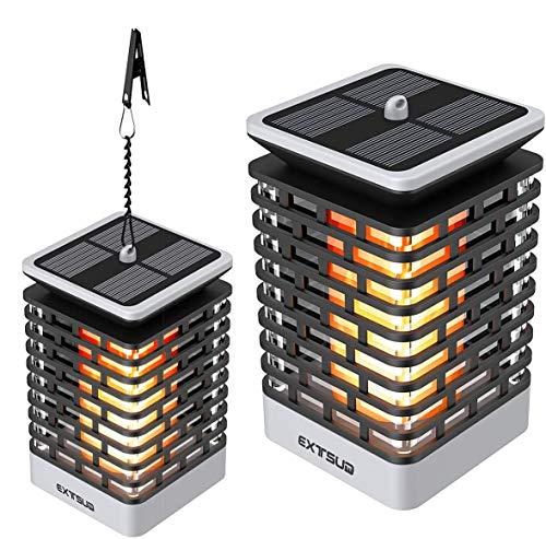 EXTSUD - Paquete de 2 lámparas solares para exteriores con parpadeo automático de llama, linterna solar 99 LED, impermeable, IP65, lámpara de estado de ánimo de vela LED para decoración de jardín, patio, pasillo, veranda