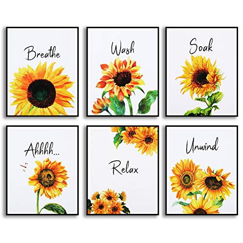 6 Pieces Sunflower Bathroom Decor Relax Soak Unwind Wall Painting Art Women Girls College Living Room Bathroom Nursery, No Frame (Stylish Color)