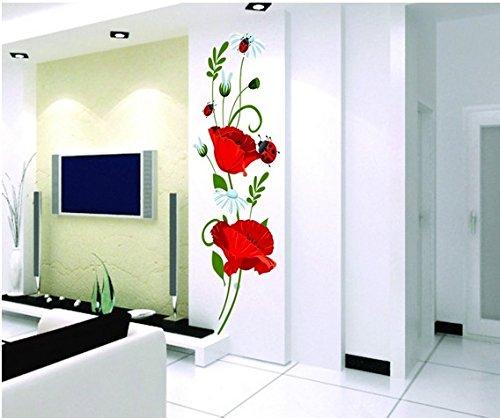 Mohnblumen Wandtattoo Wandaufkleber Abziehbilder Wohnkultur Stilvolle moderne Blumen Living Schlafzimmer Dekoration Küche