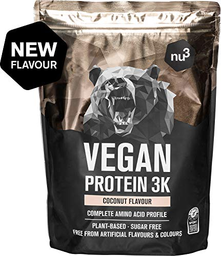 Vegan Protein 3K de nu3 – 1Kg sabor Coco – Batido de proteína vegetal sin soja – Mezcla en polvo de proteína vegana (73%) – De 4 componentes: arroz, girasol, guisante & algarrobo – Sin edulcorantes
