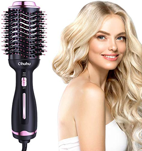 Hot Air Hair Brush, Ohuhu Hair Dryer Brush 4 in 1 Electric Hair Blow Comb Volumizer with Negative Ions for Hair Dryer, Styling, Curler and Straightener, Christmas Gift