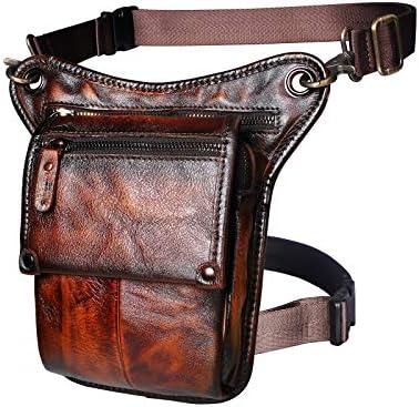 Leaokuu Mens Genuine Leather Messenger Motorcycle Hip Bum Blet Fanny Waist Pack Drop Leg Thigh Bag 211-4